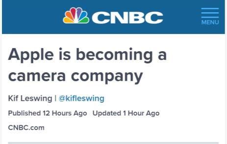 CNBC:苹果正在变成一家相机公司